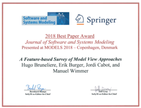 Software Design and Quality (SDQ): SoSym Best Paper Award